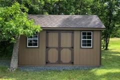 10x16 | Quaker Tan Siding | Teak Roof
