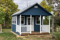 12x10 | Blue Siding | Zinc Grey Metal Roof | 6' Deck