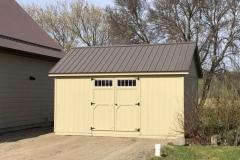 12x16 | Beige Siding | Coffee Brown Metal Roof
