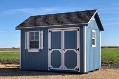 8x12 | Blue Siding | Driftwood Roof
