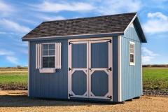 8x12 | Blue Siding | Estate Grey Roof
