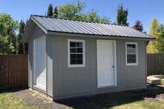 10x16 | Light Grey Siding | Grey Metal Roof