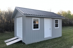 10x16 | Light Grey Siding | Black Metal Roof
