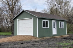 14x24 | Earth Green Siding | Black Metal Roof