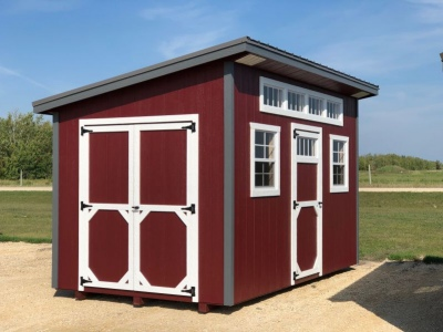 8x14 | Pinnacle Red Siding | Charcoal Metal