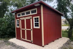 10x12 | Mountain Red Siding | Beige Trim