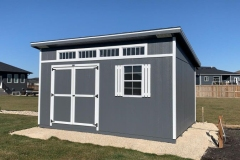 12x16 | Dark Grey Siding | White Trim