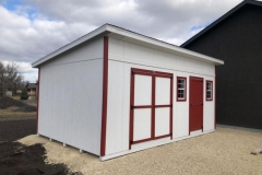 12x20 | White Siding | Mountain Red Trim