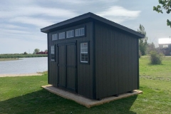 8x12 | Dark Brown Siding | Black Trim